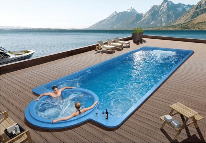 une piscine avec jacuzzi int gr. Black Bedroom Furniture Sets. Home Design Ideas
